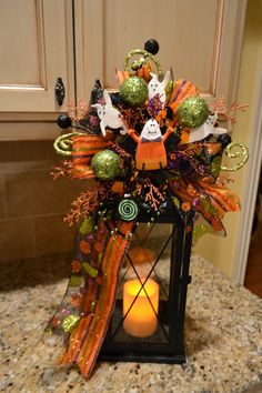decorating lanterns for fall | The Halloween lantern swags are so fun and whimsical!