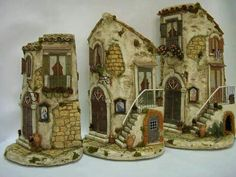 Mira Clay Houses, Ceramic Houses, Miniature Houses, Bird Houses, Doll Houses, Roof Tiles, Driftwood Art, Artsy Fartsy, Home Art