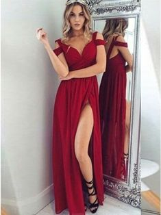 A-Line Straps Backless Floor-Length Dark Red Chiffon Prom Dress $92.99 - Prom Dresses 2018 in Bohoddress.com.