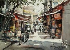 At Hanoi (watercolor, 36x50 cm)