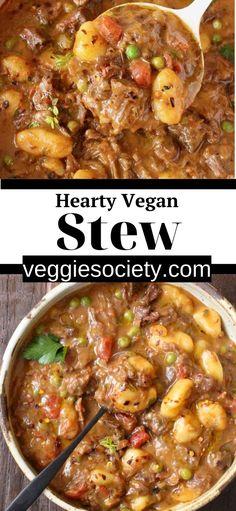 Vegan Stew, Vegan Soups, Vegan Dishes, Vegan Vegetarian, Vegetarian Recipes, Healthy Recipes, Vegan Gravy, Vegan Meals, Slow Cooking