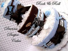 Baby Diaper Cake Rock and Roll Boys Blue by Diannasdiapercakes/ i want this at my baby shower