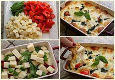 Idea cena fácil. En un molde apto para el horno, coloca cubos de queso, trozos de tomate y albahaca fresca. Sazona con sal y un poco de aceite de oliva. Lleva al horno y cómetelo con chips, nachos, palitos de pan...