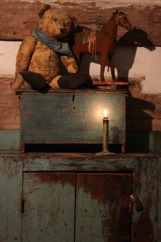 Teddy Bear, Horse Pull Toy, Miniature Blue Blanket Chest, Jelly Cupboard....Stacee Droit.