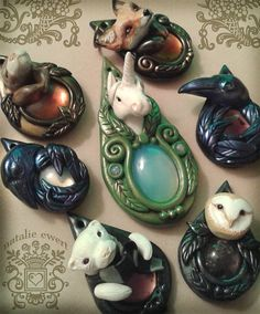 Elwyn the Unicorn Sculpted Pendant Polymer Clay door dreamtrappings