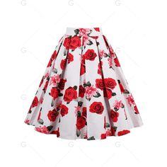 Floral Print High Waisted A Line Skirt (105 SEK) ❤ liked on Polyvore featuring skirts, a-line skirt, red high waisted skirt, flower print skirt, red knee length skirt and red floral skirt