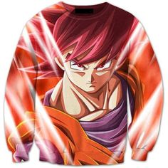 21654f6666f7 Pissed Red Haired Son Goku God Mode 3D Crewneck Sweatshirt