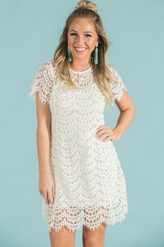 Lover's Lane Lace Dress in Cream