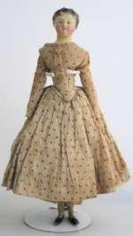 Antique Paper mache Doll Millinners Model w. Short Brush stroked hair