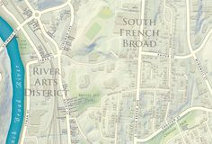 Detail view of The Asheville Map showing variation in type characteristics