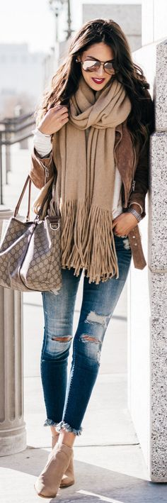 #winter #outfits brown fringe scarf