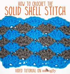 The Solid Shell Stitch pattern is one of the simplest shell stitch patterns there are. You can work it in rows, in the round, or as a blanket edging!