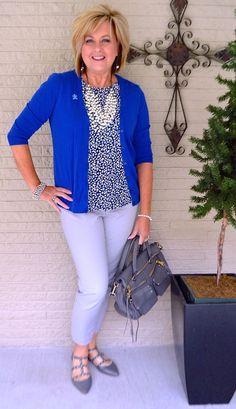 50 IS NOT OLD   CHASING AWAY THE WINTER BLUES   Blue & Gray   Autism Awareness   Printed Blouse   Fashion Over 40 For The Everyday Woman