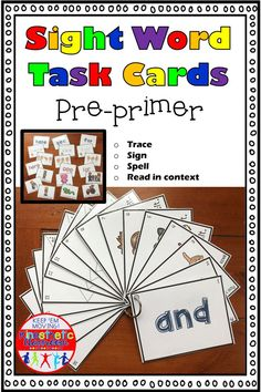 Tired of the same old literacy centers? Need a workshop that works for visual and kinesthetic learners, and will also support RTI? Then this set of task cards for the pre-primer sight words is just what you need! This set includes 16 cards for each of t Reading Fluency Activities, Sight Word Activities, Alphabet Activities, Kindergarten Reading, Pre Primer Sight Words, Kinesthetic Learning, Reading Task Cards, Love Teacher, Teaching The Alphabet