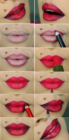 Famous Ombre Lips Tutorials / Best LoLus Makeup Fashion #coupon code nicesup123 gets 25% off at www.youniqueproducts.com/sarahbryden