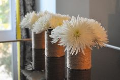 """Tin can and twine """"vase"""""""