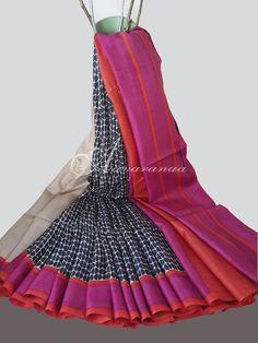Beige & Black printed Tussar sari weavers studio
