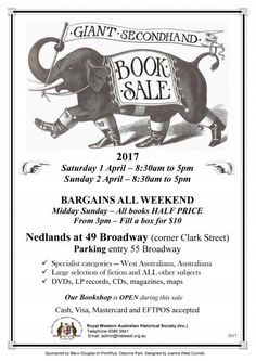 Royal WA Historical Society Giant Secondhand Book Sale 1-2 April | Heritage Perth