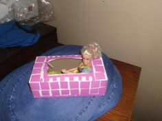 decorate a Kleenex Box to make Barbie furniture like this bath tub shown.