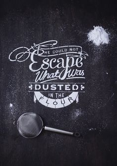 Typography and photography lover, Nina Harcus, worked on a recipe book called 'Type Delight'. In the book, she hand made beautiful food typography—using flour, a pie and various ingredients—to tell the story of a patisserie chef, Marcelle, who falls in love with typography.