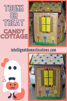 We made this Candy Cottage from a big box for our Trunk or Treat event at our church. We used common supplies for crafting and even glue along with things we already had on hand. The step by step tutorial is included with photos of the process. There are also links for more Trunk or Treat design ideas to inspire you. #trunkortreat #halloween Make Your Own, Make It Yourself, How To Make, Fall Festival Games, Trunk Or Treat, Scary, Diy And Crafts, Trunks, Crafting