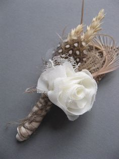 Wedding accessory groom boutonniere natural burlap wheat rustic woodland beige tan rose burlap groomsmen. $20.00, via Etsy.