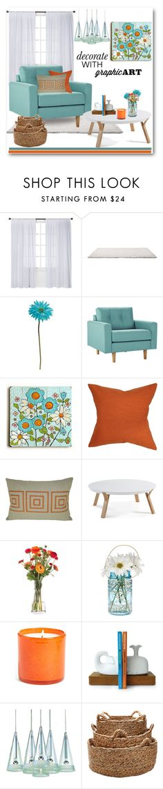 """Daisy Graphic Art"" by brendariley-1 ❤ liked on Polyvore featuring interior, interiors, interior design, home, home decor, interior decorating, Nate Berkus, Allstate Floral, ArteHouse and The Pillow Collection"
