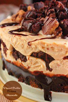 peanut butter cheesecake Brownie Cheesecake, Peanut Butter Cheesecake, Peanut Butter Brownies, Cheesecake Recipes, Dessert Recipes, Chocolate Cheesecake, Fudge Brownies, Brownie Cake, Brownie Recipes