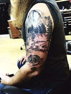 Half Sleeve Angry Bear Men's Tattoo