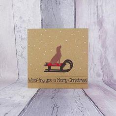 Spaniel handmade Christmas card Colour choice: Brown or Christmas Puns, Christmas Tree And Santa, Simple Christmas Cards, Xmas Cards, Handmade Christmas, Holiday Cards, Anniversary Cards For Wife, Pun Card, Card Sentiments