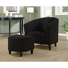 @Overstock - Padded Microfiber Accent chair and Ottoman. Set includes: Chair, ottoman  Upholsetery materials: Padded microfiber, wood legs, foam seat, sinuous spring cushion  Dimensions: 30 inches high x 30 inches wide x 29 inches deep http://www.overstock.com/Home-Garden/Black-Padded-Microfiber-Accent-Chair-and-Ottoman/6212342/product.html?CID=214117 $192.97