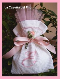 123 Cross Stitch, Cross Stitch Patterns, Couture Sewing Techniques, Donia, Lavender Bags, Wedding Favor Bags, Balloon Arch, Ribbon Bows, Baby Shower Decorations