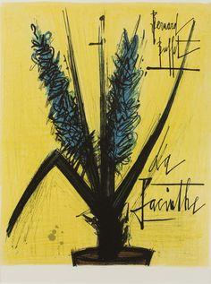 BUFFET Bernard (1928-1999) La Jacinthe  Lithographie en couleurs sur vélin.  Signature et titre imprimés.   Dimensions sujet : 35,5 x 28 cm.   Sold 120€