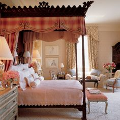 Stunningly beautiful bedroom. The canopy & window treatments are divine. Bunny Williams