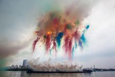 Elegy chapter one of Elegy: Explosion Event for the opening of Cai Guo-Qiang: The Ninth Wave realized on the riverfront of the Power Station of Art Shanghai China 2014
