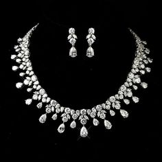 Bridal statement necklace and earrings, Wedding necklace set, Cubic zirconia necklace and earrings