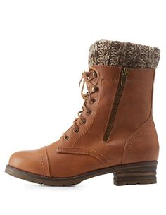 Sweater-Cuffed Lace-Up Combat Booties by Charlotte Russe - Brown