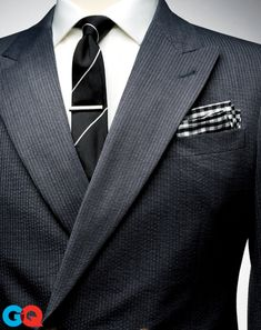 Pocket square, $20 by Brooks Brothers. Suit jacket, $2,495 by Giorgio Armani. Shirt, $65 by Tommy Hilfiger. Tie, $155 by Ralph Lauren Black ...