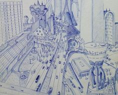 A drawing of a futuristic city sometime in the future. This was drawn in blue biro pen and was done many years ago.