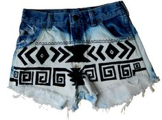 HIGH WAISTED vintage hand painted TRIBAL shorts by URb4NWR3CkEd, $39.00 Painted Shorts, Tribal Shorts, Art Projects, Hand Painted, Painting, Vintage, Fashion, Art Designs, Moda