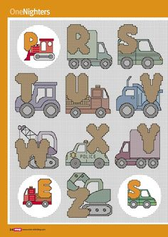 On the Move alphabet - 4 of 4 Bead Loom Patterns, Stitch Patterns, Cross Stitching, Cross Stitch Embroidery, Stitch Toy, Animal Letters, Cross Stitch Letters, Chart Design, Alphabet And Numbers