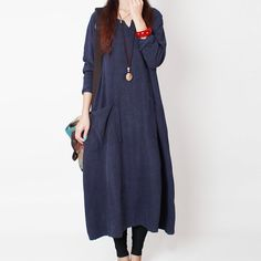 2015 Women Cotton Linen Maxi Long Dress by Showcottonstyle on Etsy