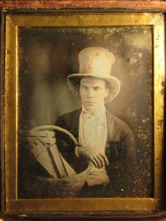 1-4-Plate-Tinted-OCCUPATIONAL-DAGUERREOTYPE-Photo-MAN-W-BASKET-OF-KNIVES-TOOLS