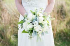 Lovers' Lane: A Rustic Wedding Styled Shoot in Yorkshire. Ivory & green wedding bouquet.   Image by Jenny Maden Photography.  Read more: http://bridesupnorth.com/2017/01/30/lovers-lane-a-rustic-wedding-styled-shoot-in-yorkshire/  #wedding