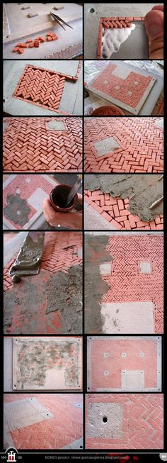 After finishing the base and preparing the concrete slab, now it's time to start laying the bricks. I choose the opus spicatum tecchnique, a common way to flooring in roman and medieval times. To p...