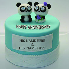 Write Your Name On Happy Anniversary Teddy Couple Cake