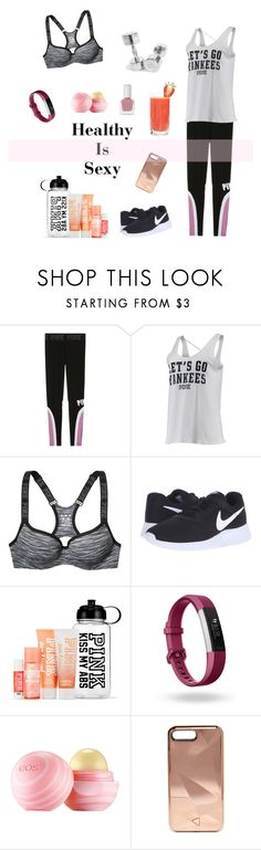 """Be Healthy, Feel Sexy"" by california-cheerleader ❤ liked on Polyvore featuring beauty, Victoria's Secret, NIKE, Fitbit, Ananas, Eos, Rebecca Minkoff and tenoverten"