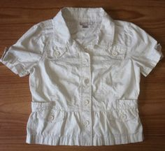 Ann Taylor Loft 10 Beige Cotton Jacket Top Blouse Flared Hips Short Sleeves