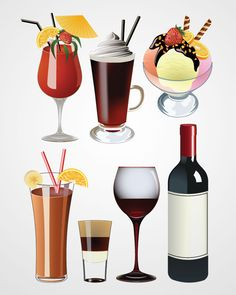 Cocktail, Wine Glass and Ice Cream Vector Set (Free)