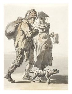 A man with a sack, a woman with a beer mug and a dog: 1759  Paul Sandby  © Museum of London